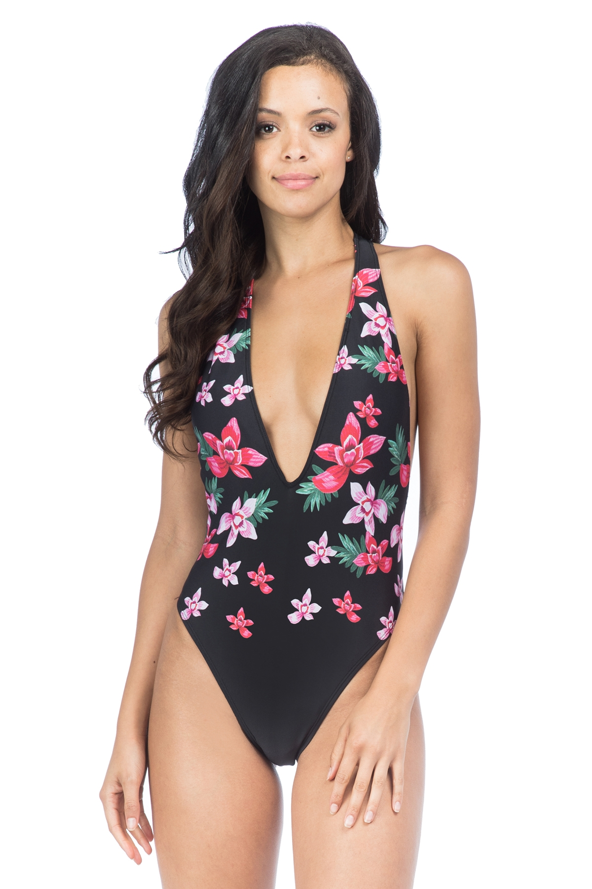 Bikini Lab Juniors Love on Trop Plunge Floral One Piece Swimsuit