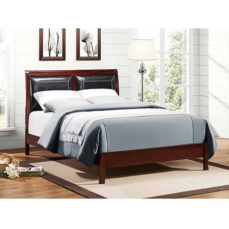 Abigail Full Faux Leather and Wood Platform Bed, Black/Warm Brown Cherry
