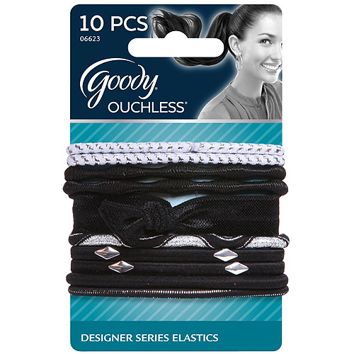 Goody Ouchless Designer Series Elastics, Bold Black, 10 count