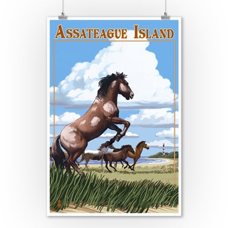 Assateague Island - Wild Horses - Lantern Press Poster (9x12 Art Print, Wall Decor Travel (Wild Horses Of Sable Island Prints For Sale)