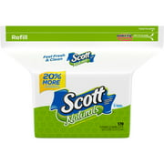 Scott Naturals Flushable Cleansing Cloths Refill, 170 sheets