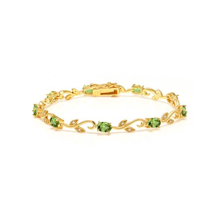 4.63 Ct Oval Green Peridot White Diamond 18K Yellow Gold Plated Silver - 18k Yellow Gold Oyster Bracelet