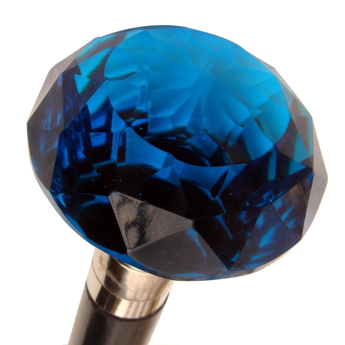 COBALT BLUE CUT GLASS KNOB CARNIVAL WALKING STICK CANE