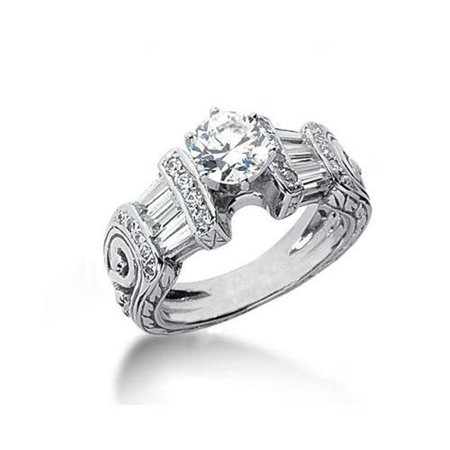 Harry Chad HC13060 2.51 CT Diamonds Engagement Ring Antique Style - Color F - VS1 & VVS1 Clarity