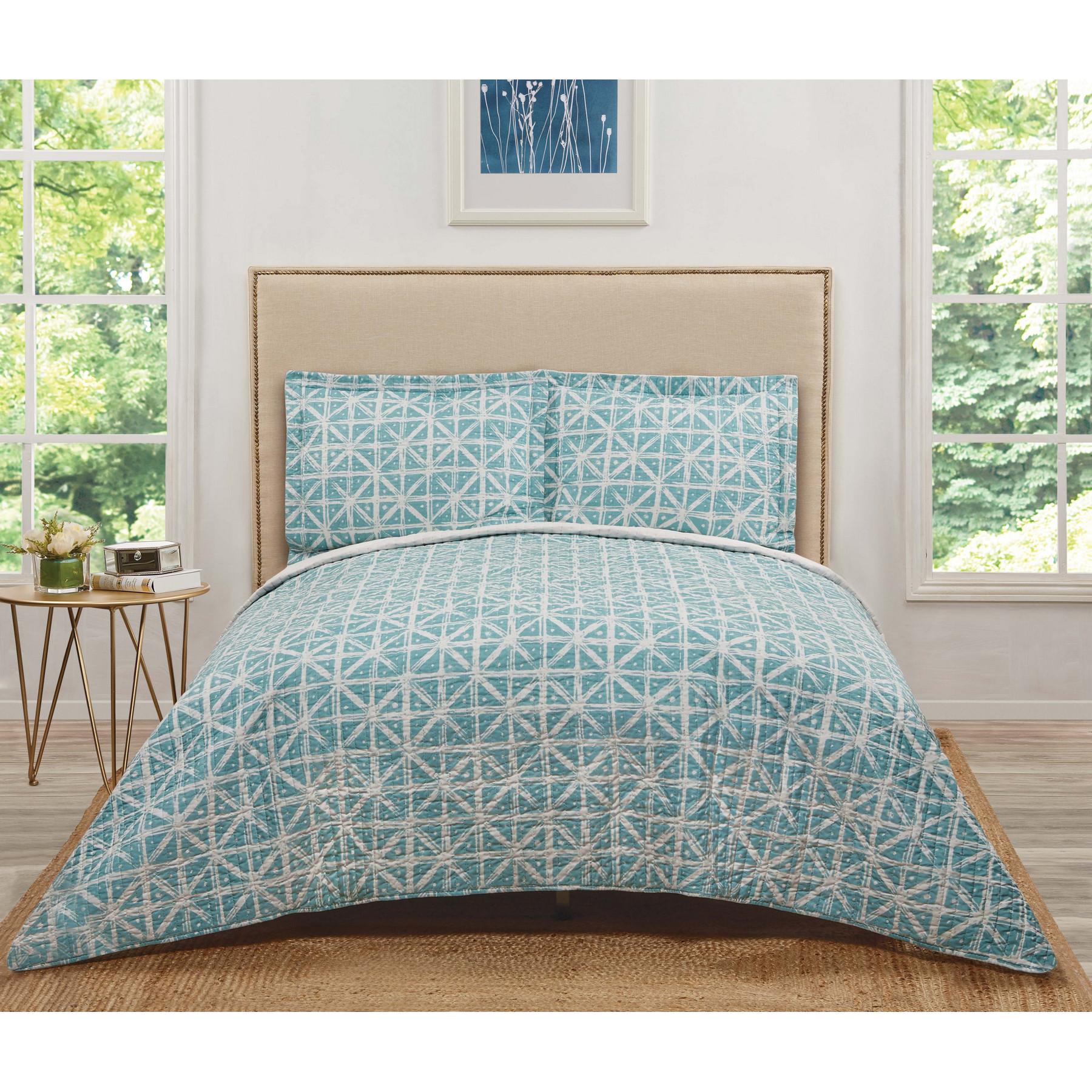 Truly Soft Celine Teal Grey Twin Extra Long Quilt Set