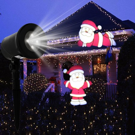 zimtown outdoor christmas projector lights led rotating projection with santa claus spotlight weatherproof light - Christmas Projector Outdoor