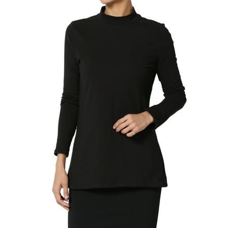 TheMogan Women's S~3XL Mock Neck Long Sleeve T-Shirt Stretch Cotton Slim Fit Top Dri Fit Mock Neck Shirt