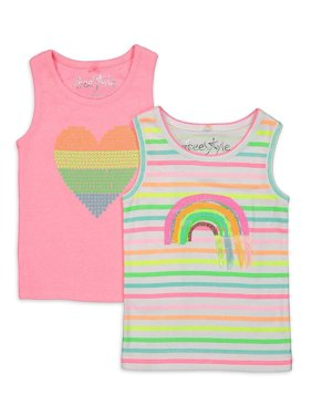 Freestyle Revolution Girls Graphic Tank Tops, 2-Pack, Sizes 4-12
