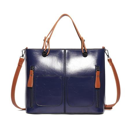 Retro Oil Wax Leather Women's Satchel Purses Handbags Ladies Tote Bags