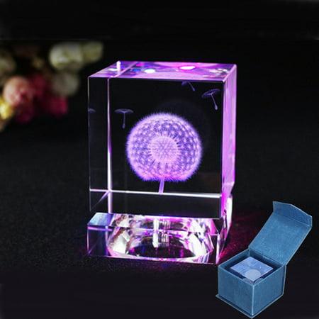 Crystal 3D LED Dandelion Plant Artware Home Decoration Unusual Christmas Gifts ()