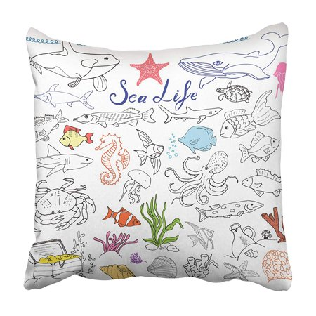 EREHome Big Sea Life Animals Sketch Doodles of Fish Shark Octopus Star Crab Whale Turtle Pillowcase 18x18 inch - image 1 of 1