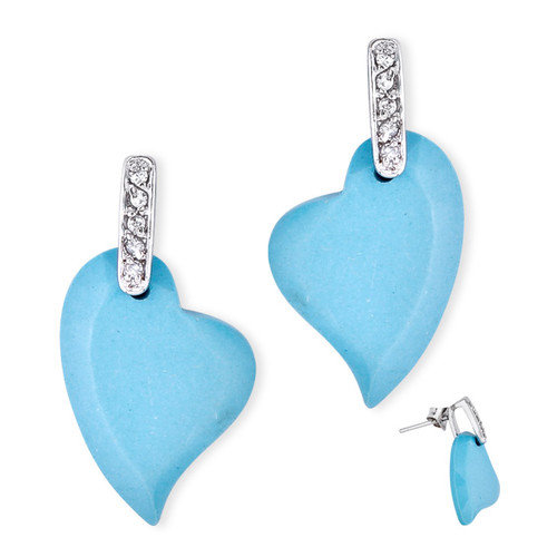 CZ Collections Beautiful Turquoise Mother of Pearl in Heart Shape on Little Earrings