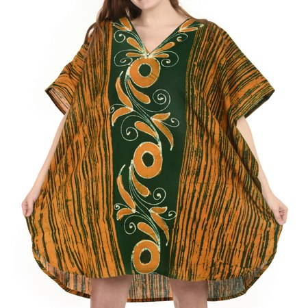 Womens Batik Caftan Summer Plus Size Ladies Cotton Tunic Dress Mini Beach Wear Loose Kaftan
