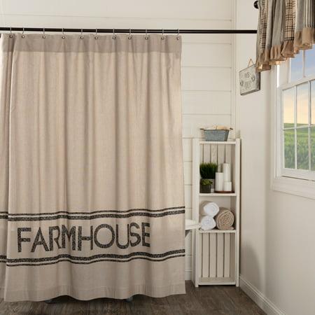 Khaki Tan Farmhouse Bath Miller Farm Rod Pocket Cotton Button Holes For Shower Hooks Stenciled Chambray Text Curtain