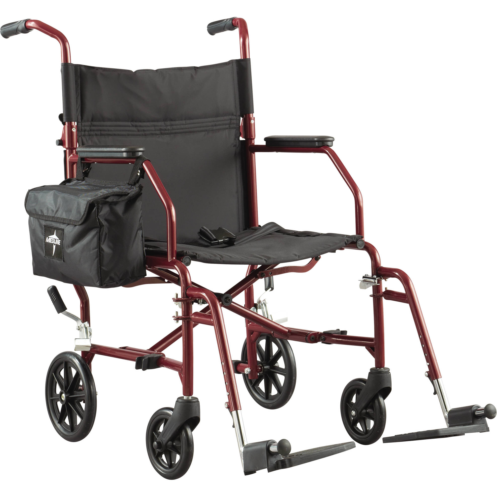 "Medline Basic Steel Transport Wheelchair with 19"" Wide Seat, Burgundy"