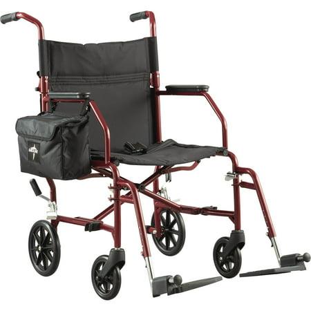 Medline Basic Steel Transport Wheelchair With 19   Wide Seat  Burgundy