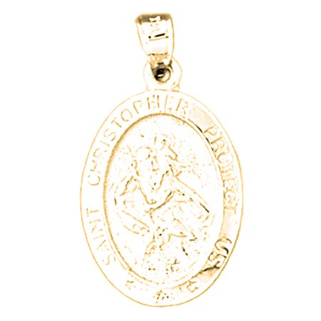 Yellow Gold Plated 925 Sterling Silver Saint Christopher Coin Pendant   27 Mm  Approx  2 465 Grams