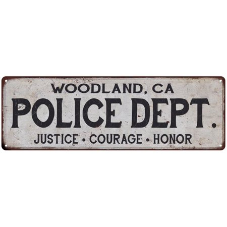 WOODLAND, CA POLICE DEPT. Home Decor Metal Sign Gift 6x18 206180012630 ()