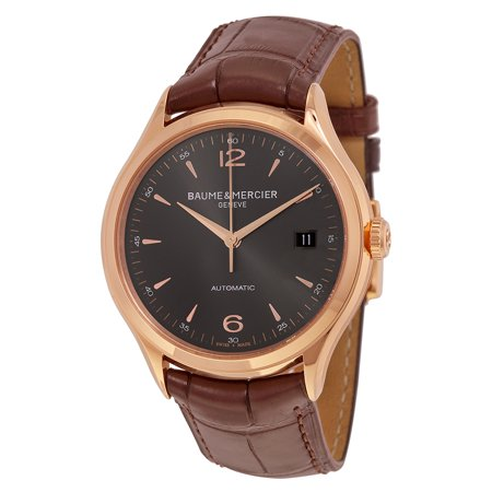 Baume and Mercier Clifton Grey Dial 18kt Rose Gold Brown Alligator Leather Mens Watch (Dial Brown Alligator)