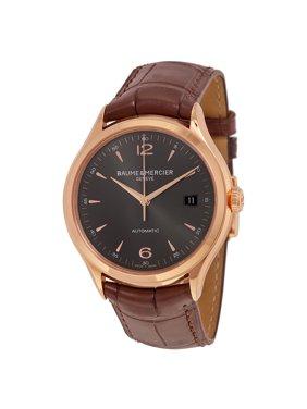 Baume & Mercier Baume and Mercier Clifton Grey Dial 18kt Rose Gold Brown Alligator Leather Mens Watch 10059