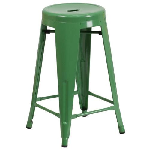 Flash Furniture Metal 24'' Backless Counter Stool in Green