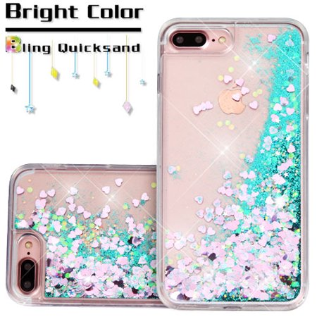 Apple Iphone 7 Plus Phone Case Bling Hybrid Liquid Glitter Quicksand Rubber Silicone Gel Tpu Protector Hard Cover   Green Hearts
