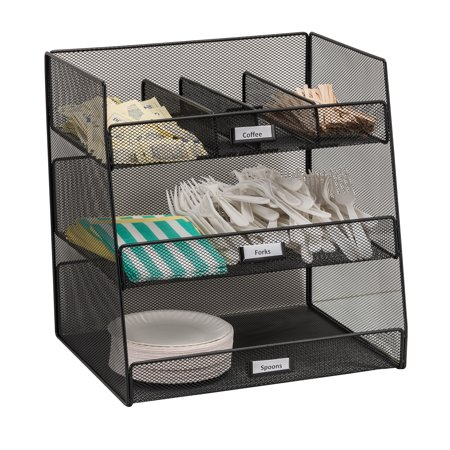 3293BL Onyx Three large Compartments & Three Removable/Adjustable Dividers Break Room Black Organizer ()