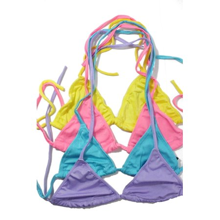 Flirtzy Sexy Lycra Lined Triangle Bikini Halter Top, Swimwear, Bathing Suit- 4 Pack Blue, Hot Pink, Lavender, (Lace Triangle Bikini Top)