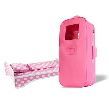 18 Inches Doll Travel Case with Bed and Bedding Fit for American Girls Doll, Doll and Me, My Life Doll, and My Generation Doll - Me Doll