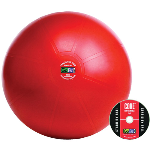 GoFit 65cm Professional Stability Ball and Core Performance Training DVD