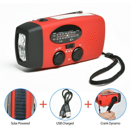 ODOLAND portable dynamo emergency solar hand crank radio LED Flashlight Smart Phone Charger