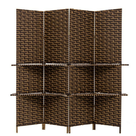 - THY COLLECTIBLES Freestanding Woven Bamboo 4 Panels Hinged Privacy Panel Screen Partition Wall With 2 Display Shelves Holding Room Divider With Shelves-Bamboo (Coffeebrown)
