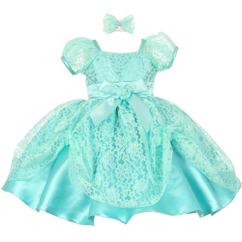 Baby Girls Mint Lace Ribbon Headband Special Occasion Dress 12M
