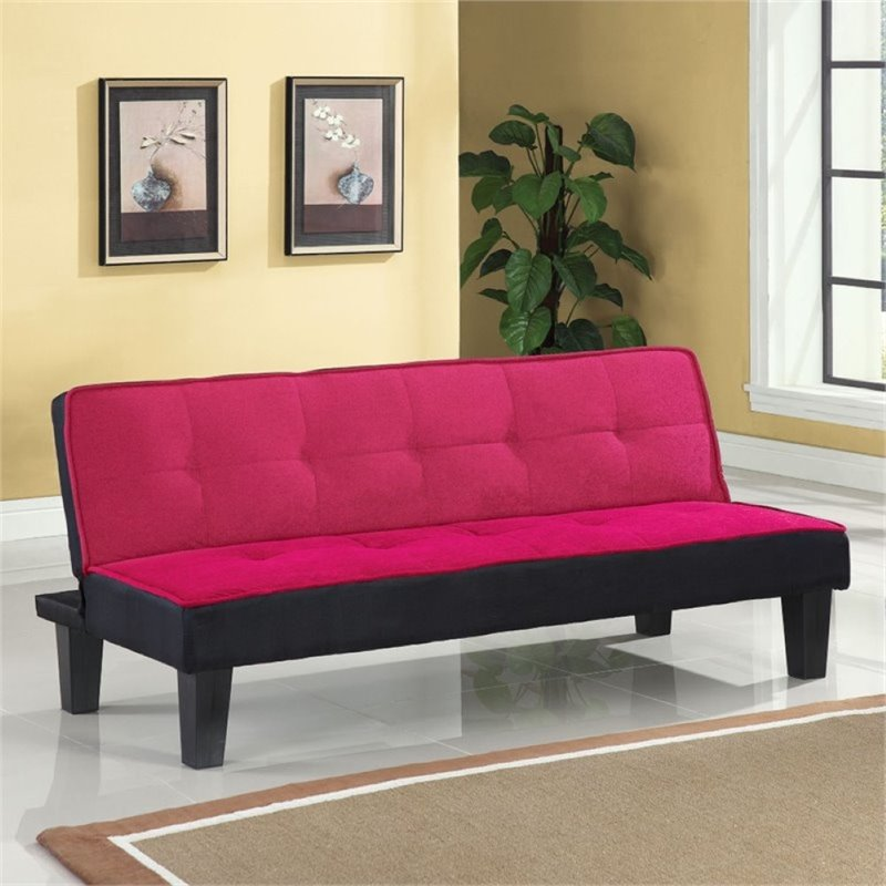 Bowery Hill Convertible Sofa in Pink