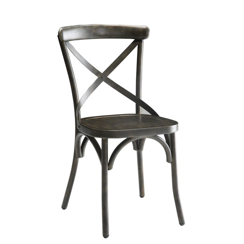 Coaster Furniture Metal Dining Side Chair in Antique Brow...