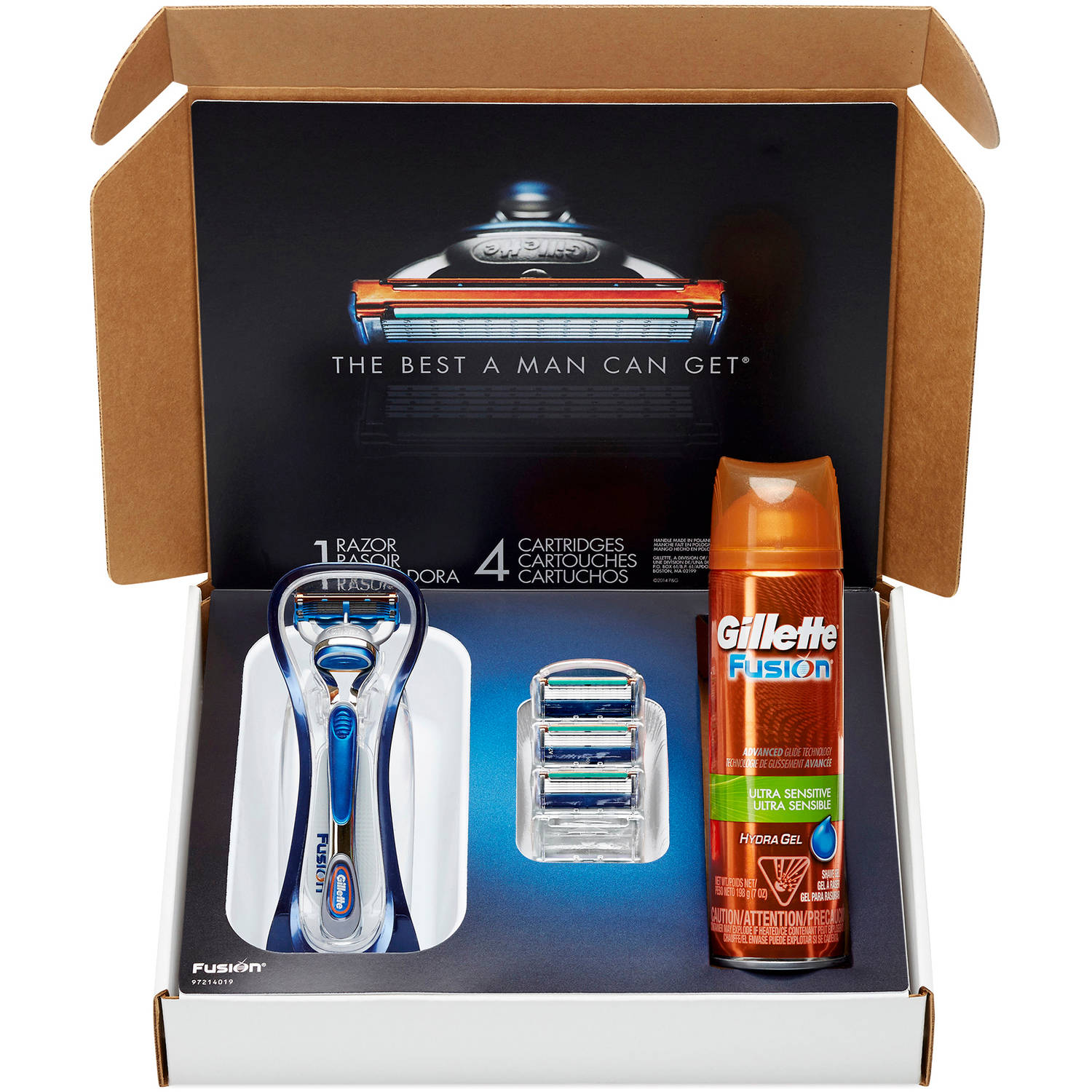 Gillette Fusion Bundle with Manual Razor Blades, Handle, and Shave Gel, 6 pc
