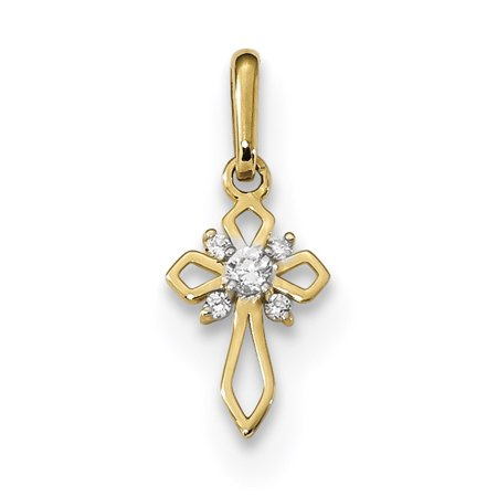 14k Yellow Gold Childrens Cubic Zirconia Cz Cross Religious Pendant Charm Necklace Kid Fancy For - Kids Charms