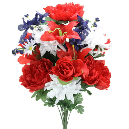 Admried By Nature Artificial 24 Stem Peony, Lily, Mum Mixed Flower Bush for Memorial Day or Cemetary Floral Decoration