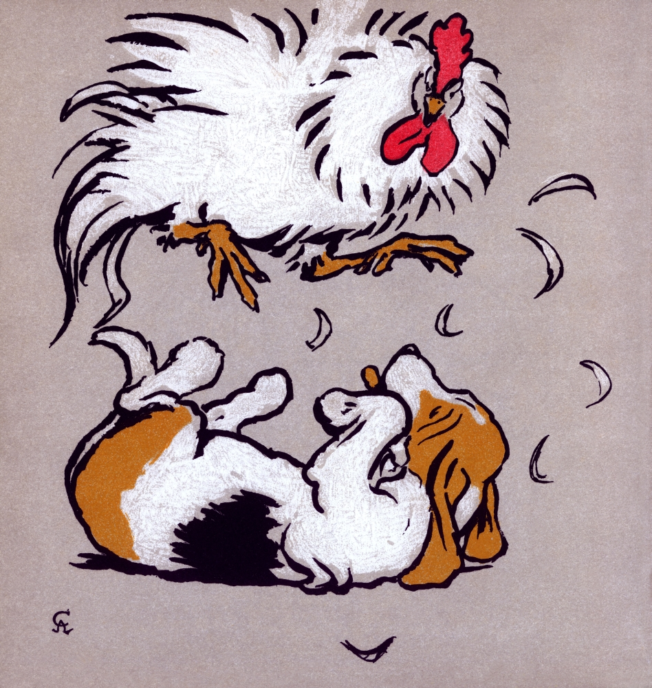 Mary Evans Picture Library Stretched Canvas Art - Illustration By Cecil Aldin, The Farmyard Puppies - Medium 18 x 24 inch Wall Art Decor Size.