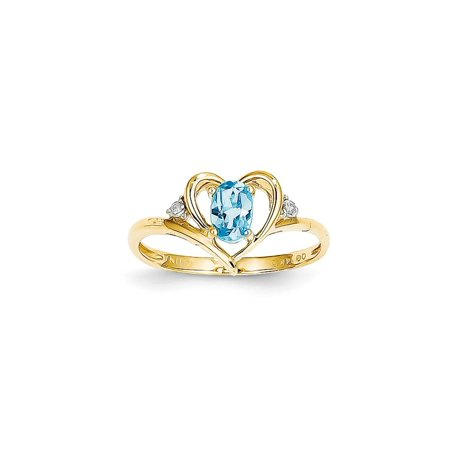 Solid 14k Yellow Gold Diamond & Blue Simulated Topaz Ring (2mm) - Size 4