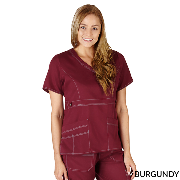 M&M SCRUBS - FREE SHIPPING WOMEN MOCK WRAP SUPER SOFT SCRUB TOP