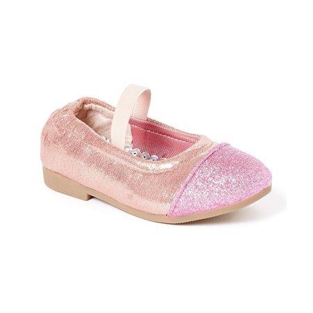Little Girls Pink Glitter Texture Elastic Band Slip On Flats 5-10 Toddler - Pink Toddler Flats