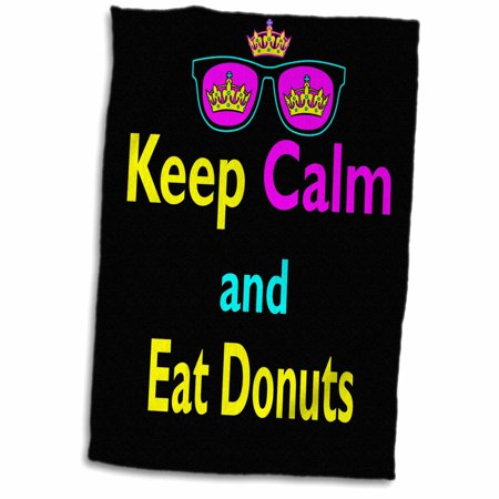3dRose CMYK Keep Calm Parody Hipster Crown And Sunglasses Keep Calm And Eat Donuts - Towel, 15 by 22-inch - Donut Tower