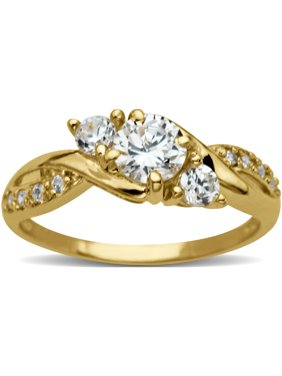 Believe by Brilliance Round 3-Stone CZ 10kt Yellow Gold Engagement Ring