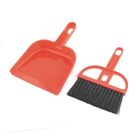 Unique Bargains Red Garderobe Table Cleaning Whisk  Broom Dustpan (Whisk Broom Set)
