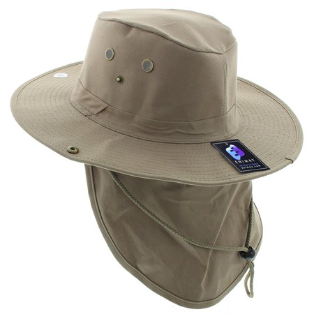 53d0d959 Enimay - Enimay Outdoor Hiking Fishing Snap Brim Hat With Neck Flap Khaki  Large - Walmart.com