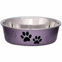 Loving Pets Bella Medium Bowl, Grape Metallic