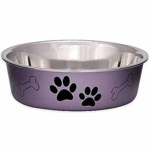 Loving Pets Bella Medium Bowl, Grape Metallic