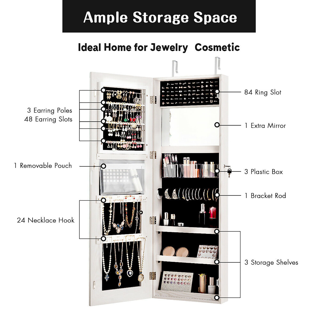 Wall/&Door Mounted Jewelry Cabinet Mordern Jewelry Box Armoire w//Frameless Mirror