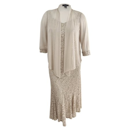 R&M Richards Women\'s Plus Size Embellished Lace Dress & Jacket (14W,  Champagne)